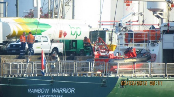 Rainbow warrior gets fueled up by BP