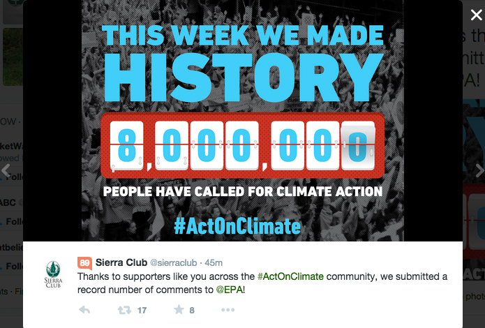 Sierra Club claims 8 million comments to EPA