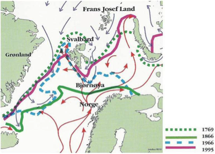 Figure 2.  Map showing maximum (April) sea ice extension in the Atlantic sector of the Arctic (Norwegian Polar Institute 2000). The map is based on a database on sea ice extension in the area shown during the past 400 years, to a high degree based on written records found in ships logbooks.